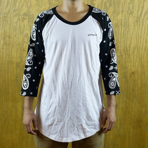 Asphalt Yacht Club Paisley Raglan Shirt Black, White