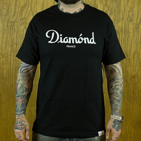 Diamond Champagne T Shirt Black