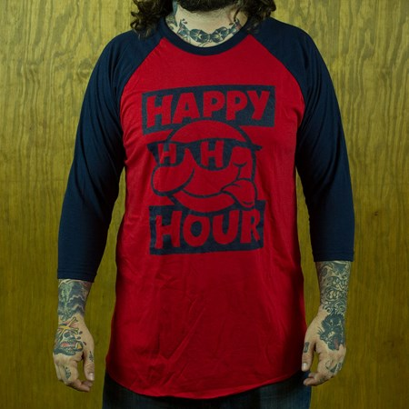 Happy Hour Shades Sonny Baseball T Shirt Navy, Red in stock now.