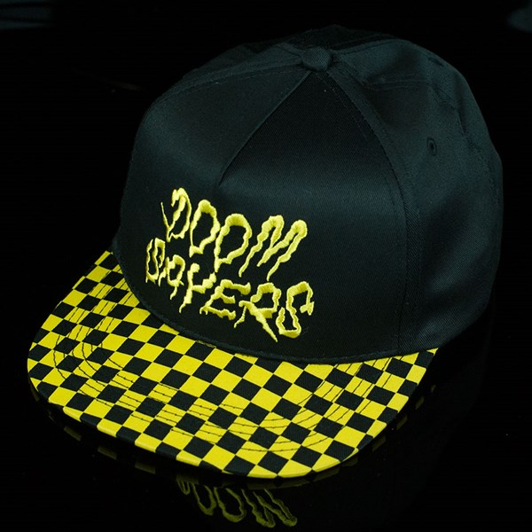 Doom Sayers Checkered Snap Back Hat Black, Yellow