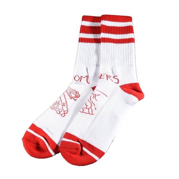 Doom Sayers Snake Shake Socks White, Red