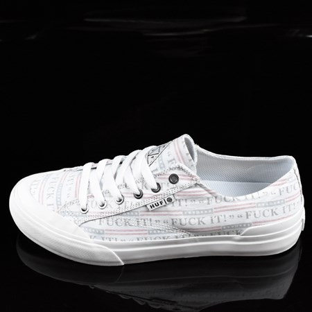 Size 11 in HUF Classic Lo Shoes, Color: Fu-k It, White