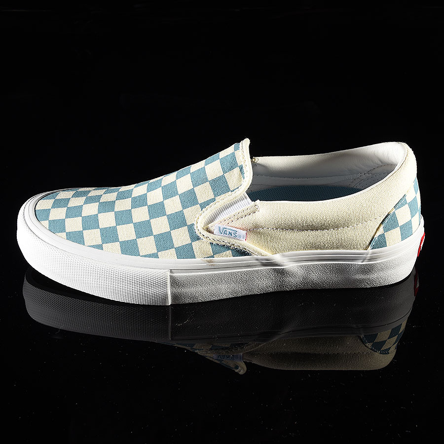 Adriatic Blue, White Checkerboard Shoes Slip On Pro Shoes in Stock Now