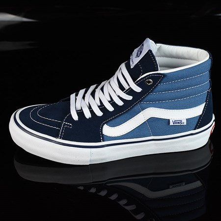 Size 8 in Vans Sk8-Hi Pro Shoes, Color: Navy, White