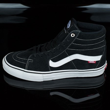 Size 8 in Vans Sk8-Hi Pro Shoes, Color: Black, White, Red