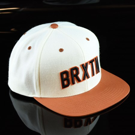 Brixton Hamilton Snap Back Hat White, Burnt Orange