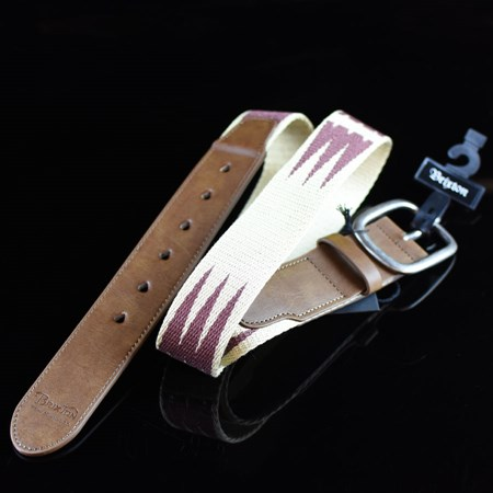 Brixton Course Belt Cream,  Burgundy