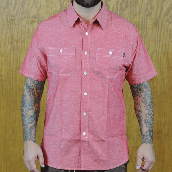 HUF Dungaree Chambray Button Up Shirt Red