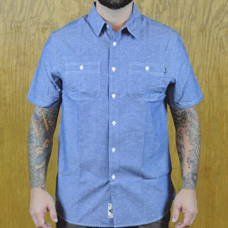 HUF Dungaree Chambray Button Up Shirt Blue