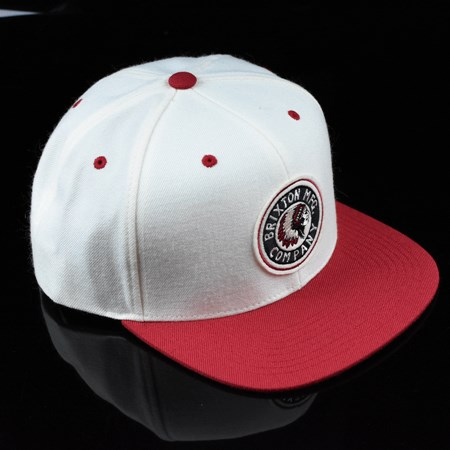 Brixton Rival Snap Back Hat Off White, Red