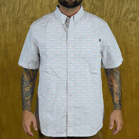 HUF F--k It Push Thru Button Up Shirt White