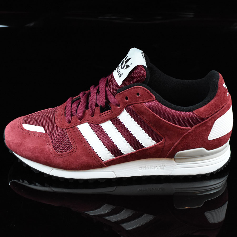 Burgundy, White Shoes ZX 700 Shoes in Stock Now