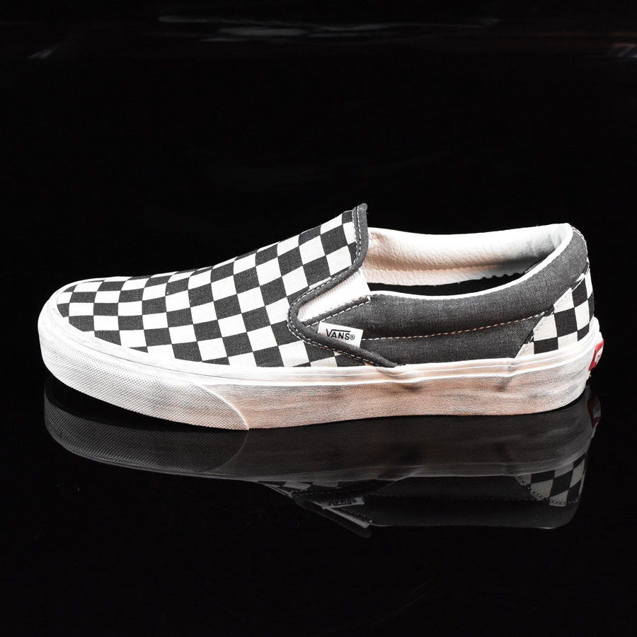 Overwashed Black, Checkered Shoes Classic Slip On Shoes in Stock Now