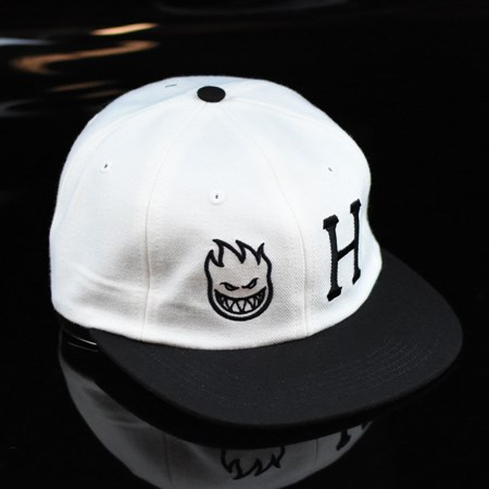 HUF HUF X Spitfire 6 Panel Strap Back Hat White in stock now.