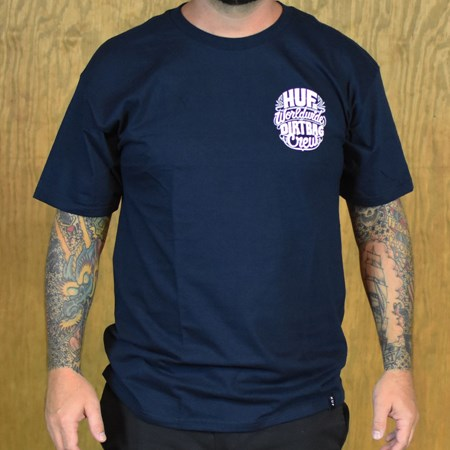 HUF Pinstripe T Shirt Navy in stock now.