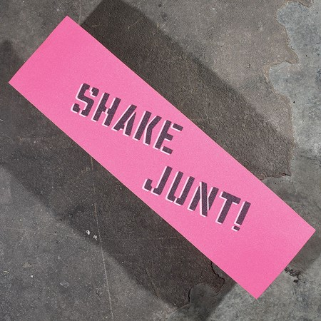 Shake Junt Sprayed Griptape Pink, Black, White in stock now.