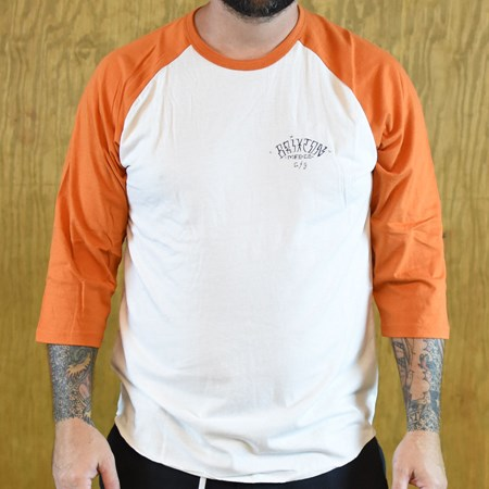 Brixton Borrego 3/4 Sleeve T Shirt White, Burnt Orange