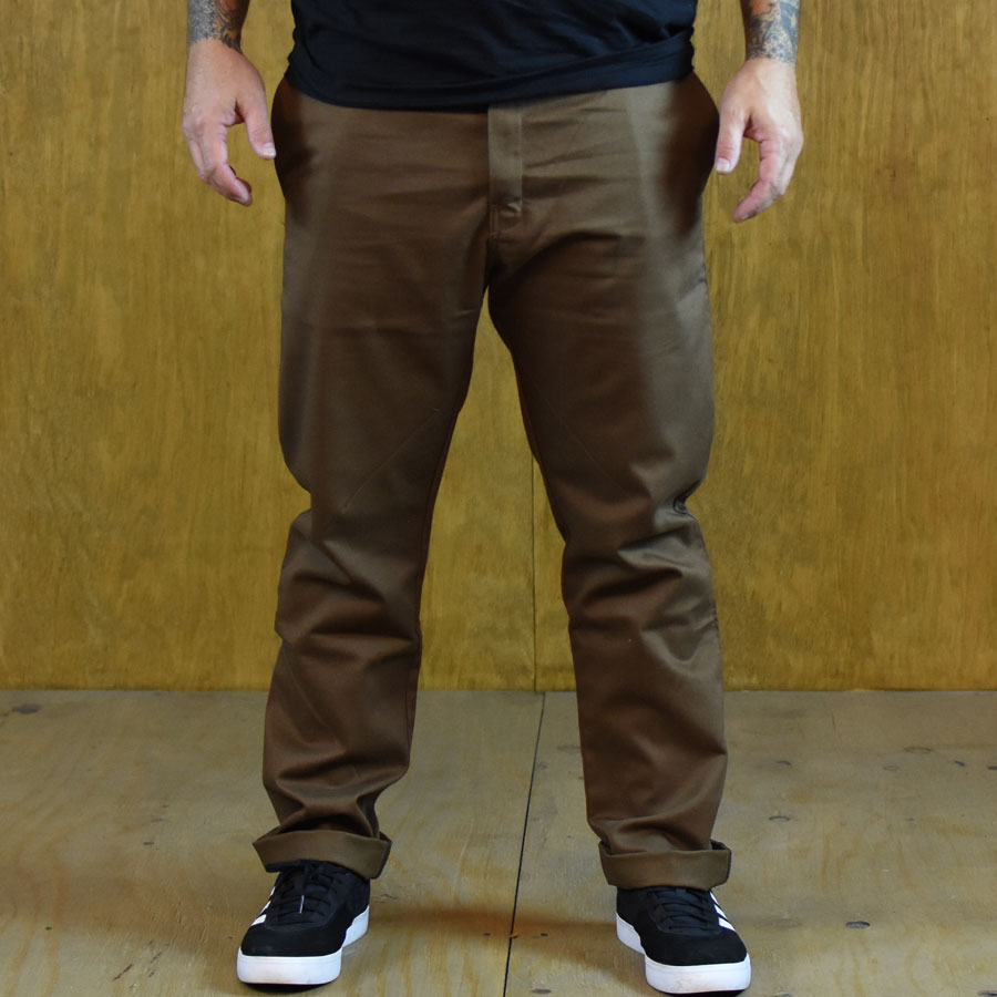 Timber Brown Pants and Jeans Dropped Taper Fit Pants in Stock Now
