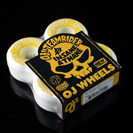 OJ III Wheels Team Rider Hard Line Insaneathane Wheels White, Yellow in stock now.