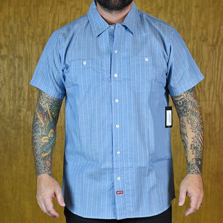 Brixton Blake S/S Button Up Shirt Light Blue in stock now.