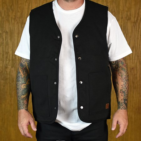 Brixton Anchor Vest Washed Black, Blue