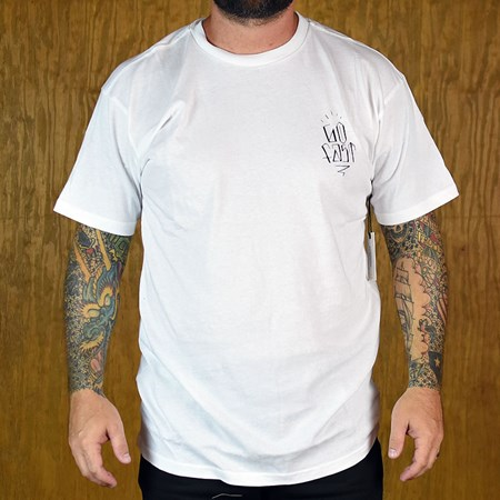 Brixton Hard Luck FU Monte Carlo T Shirt White