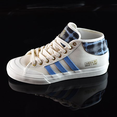 Size 8 in adidas Snoop X Gonz Matchcourt Mid Shoes, Color: White,  Light Blue, Gold