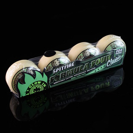 Spitfire Wheels Formula 4 101a Stay Lit Radials Wheels White in stock now.