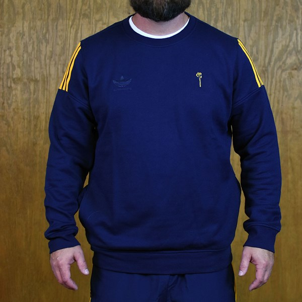adidas adidas X Hardies Crew Neck Sweatshirt Navy, Yellow