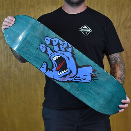Santa Cruz Minimal Hand Team Deck Blue in stock now.