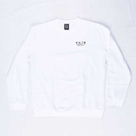 Doom Sayers Cartoon Crew Neck Sweatshirt White