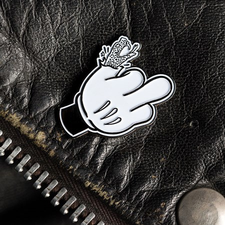 Doom Sayers Micky Finger Pin Black, White