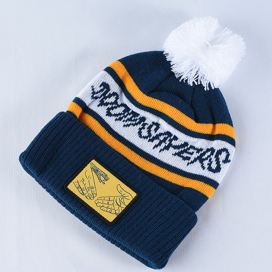 Navy, White, Yellow Hats and Beanies DSC Pom Beanie in Stock Now