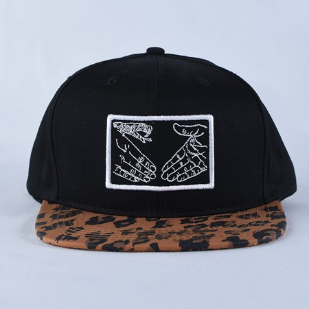 Doom Sayers Snake Shake Snap Back Hat Black, Leopard Print