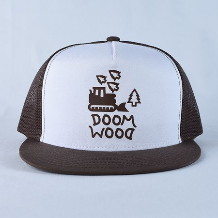Doom Sayers Doom Wood Trucker Hat Brown, White