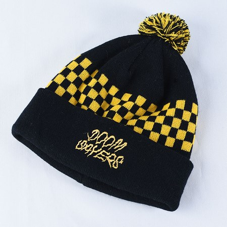 Doom Sayers Checkered Pom Beanie Black, Yellow in stock now.