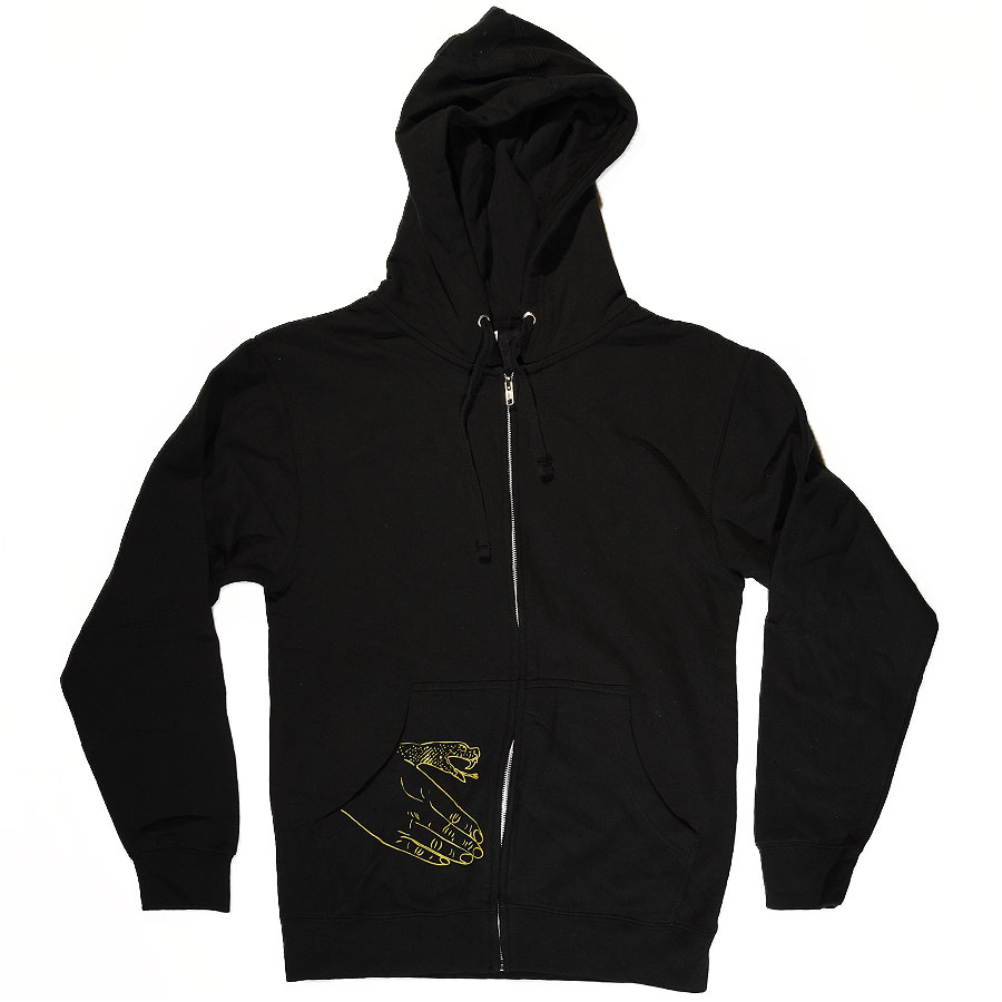 Black, Yellow With Snake Hand Print Hoodies and Sweaters Corp Guy Zip Up Sweatshirt in Stock Now