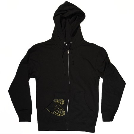 Doom Sayers Corp Guy Zip Up Sweatshirt Black, Yellow With Snake Hand Print