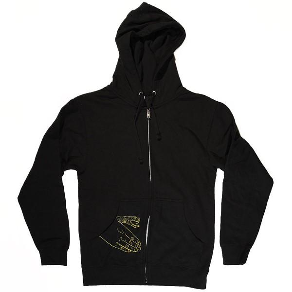 Doom Sayers Corp Guy Zip Up Sweatshirt Black, Yellow With Snake Hand Print