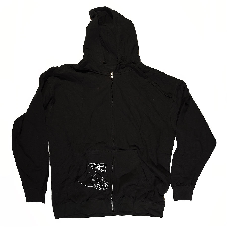 Black, White, With Snake Hand Print Hoodies and Sweaters Corp Guy Zip Up Sweatshirt in Stock Now