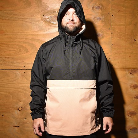 Welcome Team Anorak Hooded Windbreaker Jacket Black, Peach
