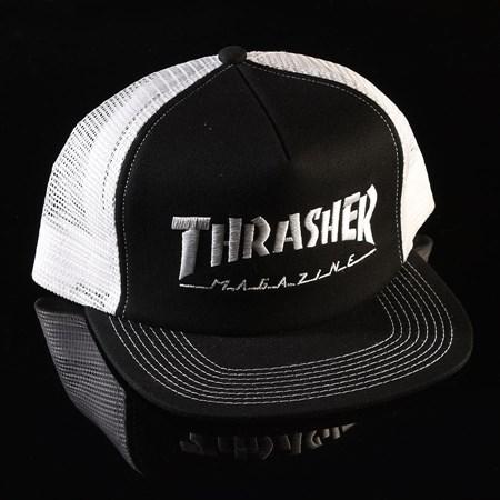 Thrasher Embroidered Logo Mesh Hat Black, White