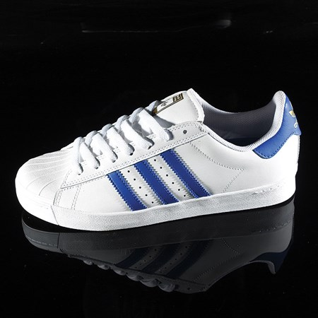 Size 11 in adidas Superstar Vulc ADV Shoe, Color: White, Royal, Gold
