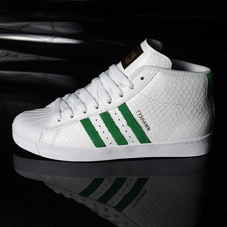 Size 9 in adidas Tyshawn Jones Pro Model Shoe, Color: White, Green, White