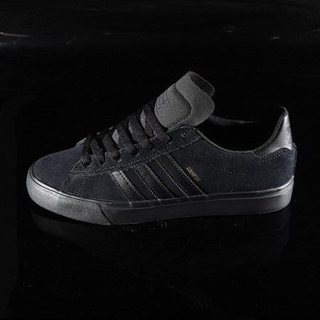Size 9 in adidas Campus Vulc II Shoe, Color: Black, Black, Black