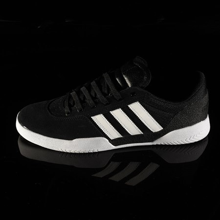 Size 9.5 in adidas City Cup Shoe, Color: Black, White, White