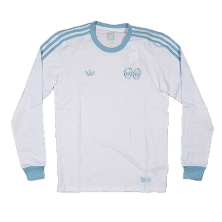 adidas adidas X Krooked Long Sleeve Shirt White, Clear Blue