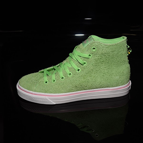 adidas Nizza Hi RF Shoes Spring Green, Cloud White, Light Pink