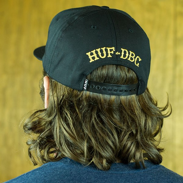 HUF Roller Snapback Hat Black From the back.