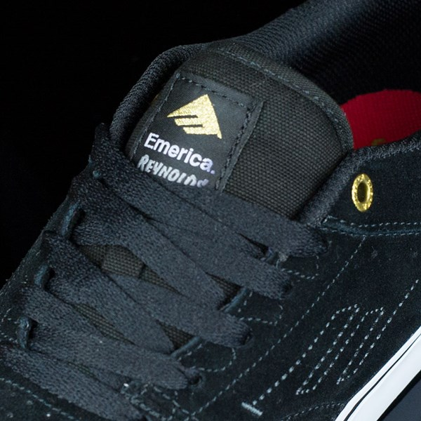 Emerica The Reynolds Low Vulc Shoes Black, White Tongue